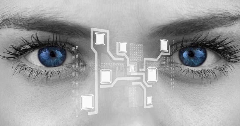 Eye of woman looking at cloud computing digital interface. Blue eye of woman looking at cloud computing digital interface stock photography