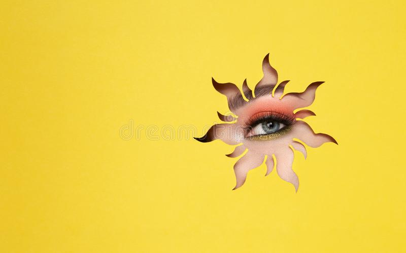 Eye of a young beautiful woman with a beauty make-up stock photo