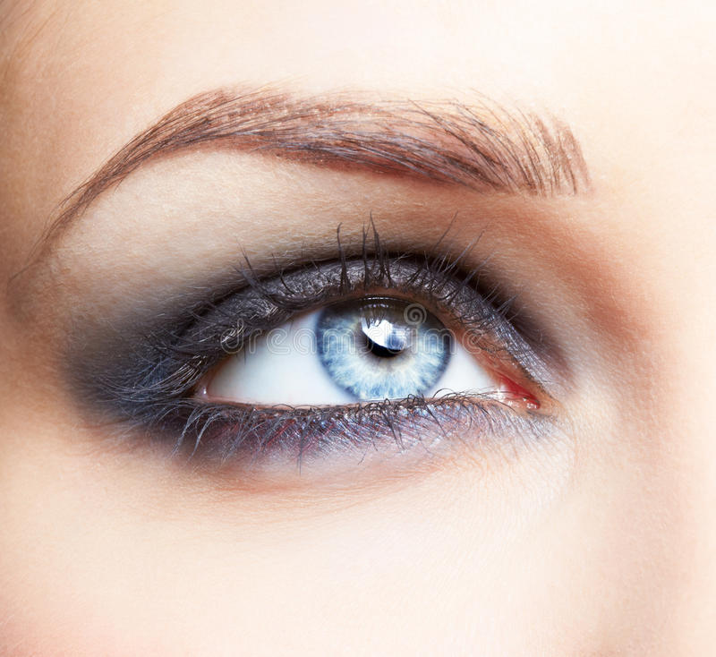 Eye zone make up. Close-up portrait of beautiful girl's eye zone make up stock images
