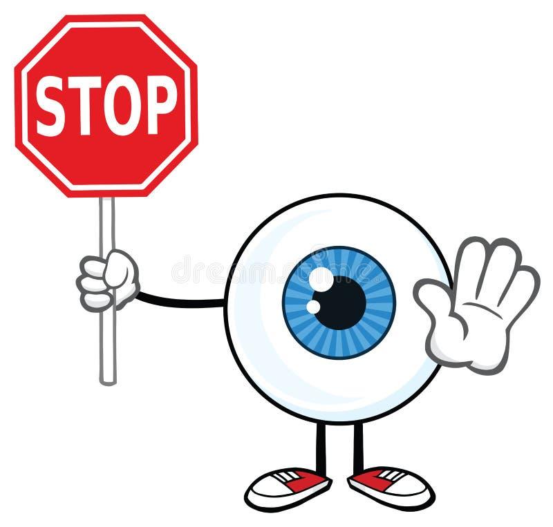 Eyeball Cartoon Mascot Character Holding A Stop Sign stock illustration