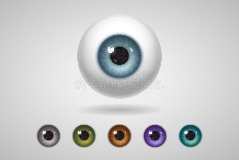 Eyeball and colored irises stock illustration