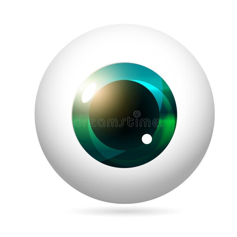 Eyeball emerald iris. Human eye front view close-up, cornea, retina, pupil. Emerald iris. Eyeball icon design isolated on white background. Realistic Vector royalty free illustration