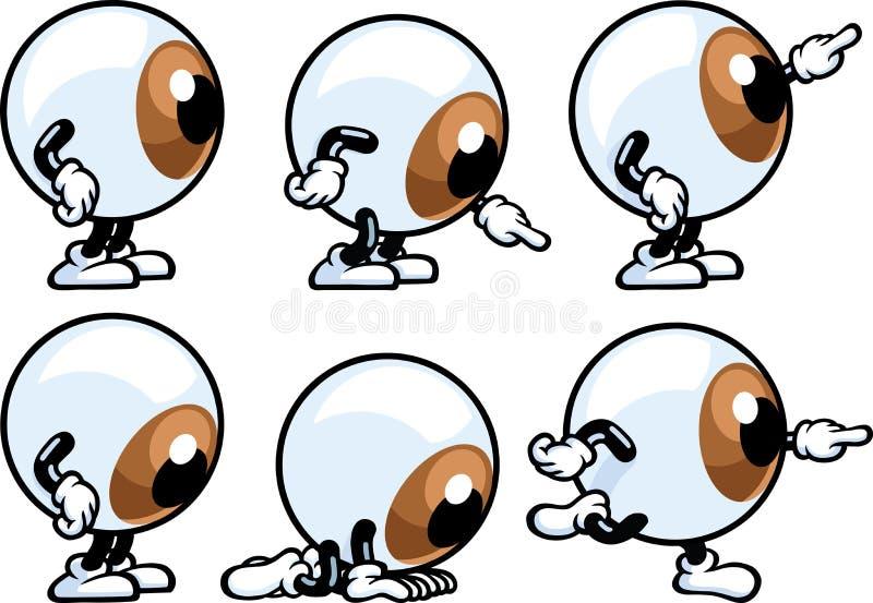 Eyeball Guy. An Eyeball character is doing different actions vector illustration