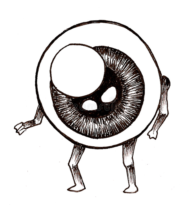 Eyeball Man. Pen and ink illustration of an eyeball man. His body and head is made up of a giant eyeball, but he has regular arms and legs royalty free illustration