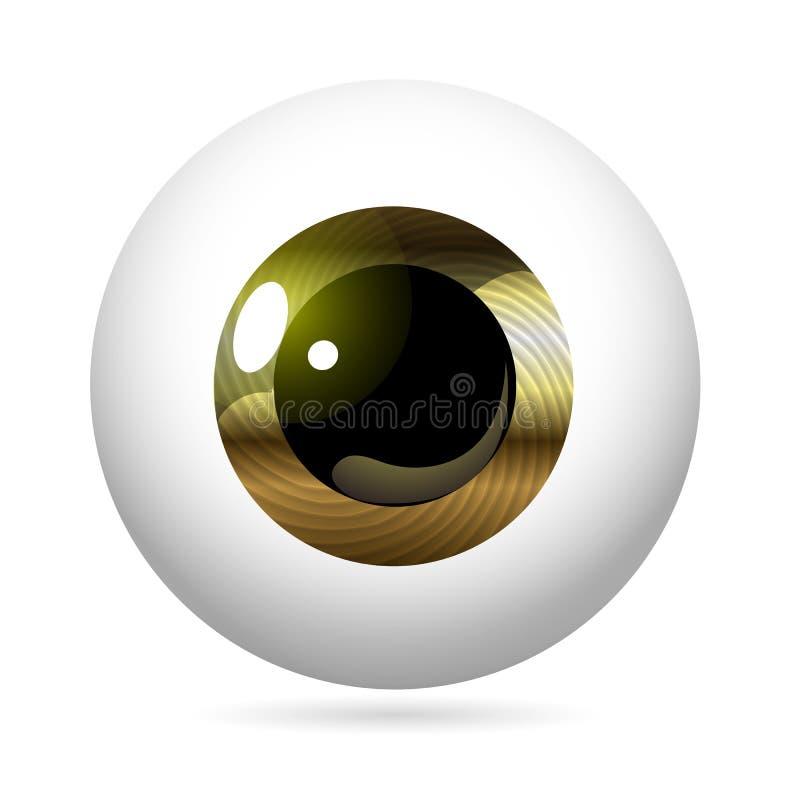 Eyeball Metallic Iris. Human eye front view close-up, cornea, retina, pupil. Metallic iris. Eyeball icon design isolated on white background. Realistic Vector vector illustration