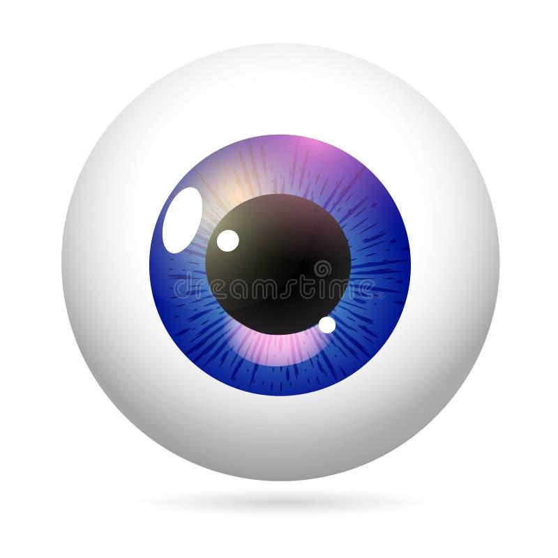Eyeball purple iris. Human eye front view close-up, cornea, retina, pupil. Purple iris. Eyeball icon design isolated on white background. Realistic Vector vector illustration