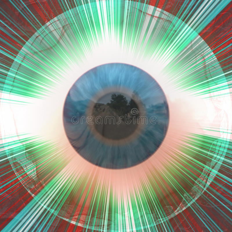 Eyeball with rays stock illustration
