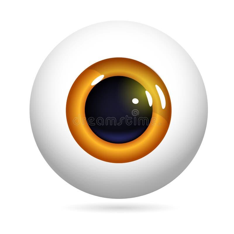 Eyeball red iris. Human eye front view close-up, cornea, retina, pupil. Red iris. Eyeball icon design isolated on white background. Realistic Vector Illustration stock illustration
