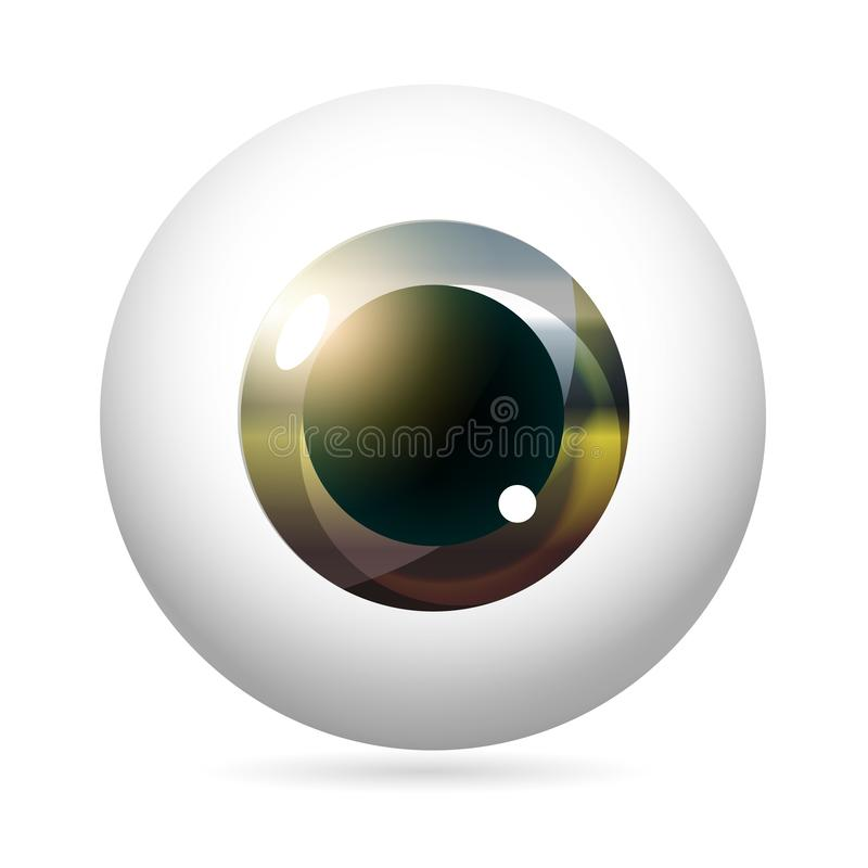 Eyeball Steel Iris. Human eye front view close-up, cornea, retina, pupil. Steel unusual iris. Eyeball icon design isolated on white background. Realistic Vector royalty free illustration