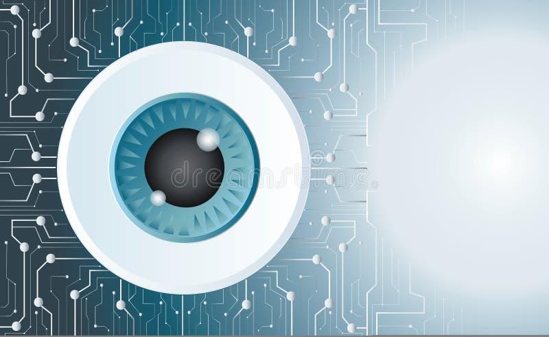 Eyeball technology art vector background. Eyeball technology microchip art vector symbol background vector illustration