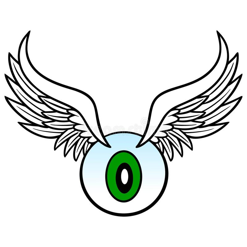 Eyeball with Wings. A cartoon illustration of a Eyeball flying through the air and flapping its Wings stock illustration