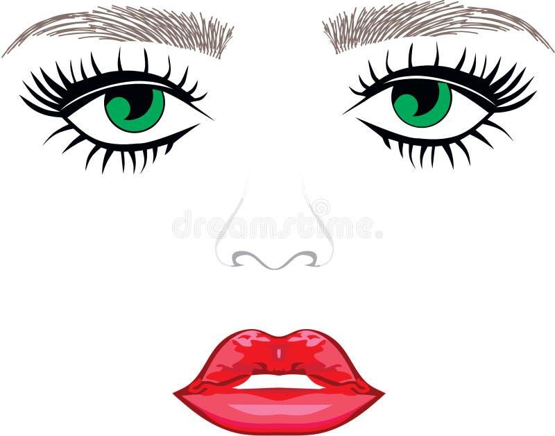 Eyebrows Eyes Lips. Eyebrow Green Eyes Lips vector illustration