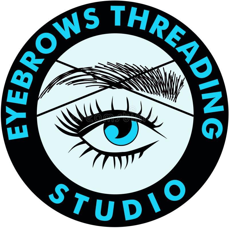 Eyebrows Threading. Eyebrow Threading microblanding long lashes stock illustration