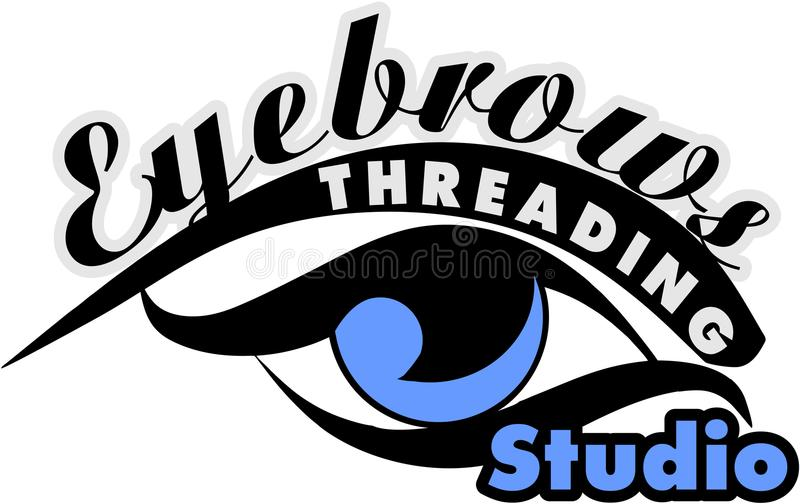 Eyebrows Threading Studio. Eyebrow Threading microblanding long lashes stock illustration