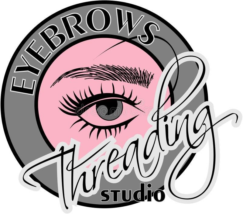 Eyebrows Threading. In decorative Frame Brows Logo stock illustration
