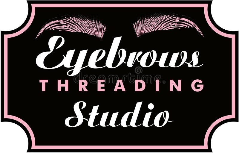 Eyebrows Threading. In decorative Frame Brows Logo royalty free illustration