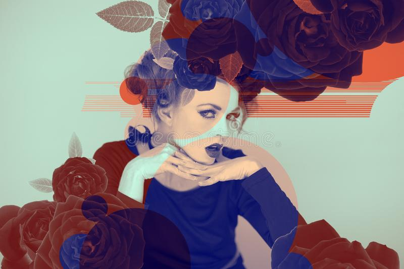 Eyecatching beautiful woman artwork with roses and color effects in duotone. Can be used as background stock photo
