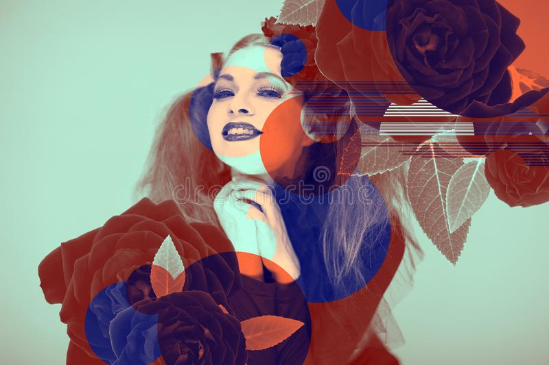 Eyecatching beautiful woman artwork with roses and color effects in duotone. Can be used as background royalty free stock image