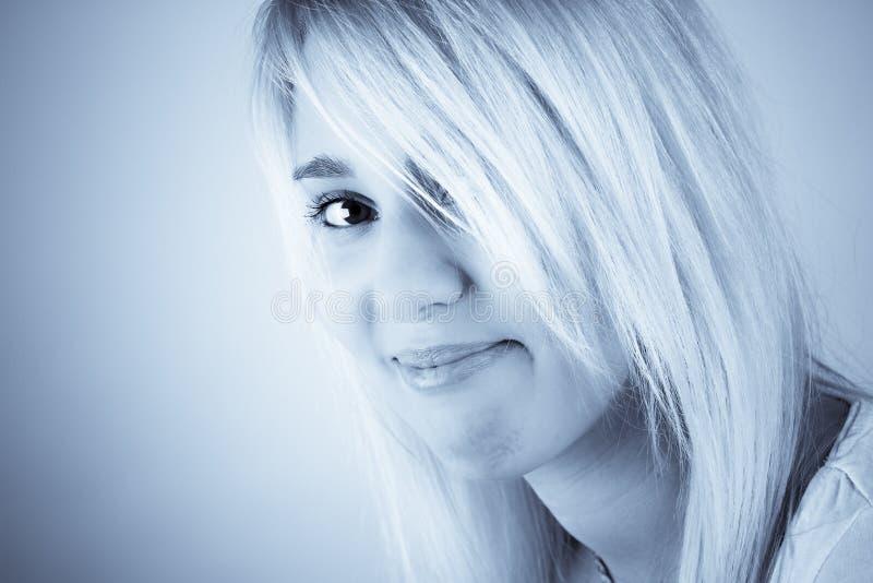 Download Eyed portrait stock photo. Image of smile, blue, monochromatic - 24784646