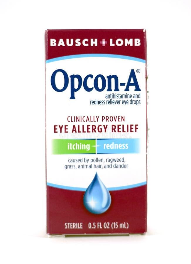 Eyedrops de Opcon-UNo por Bausch + el Lomb en caja fotos de archivo