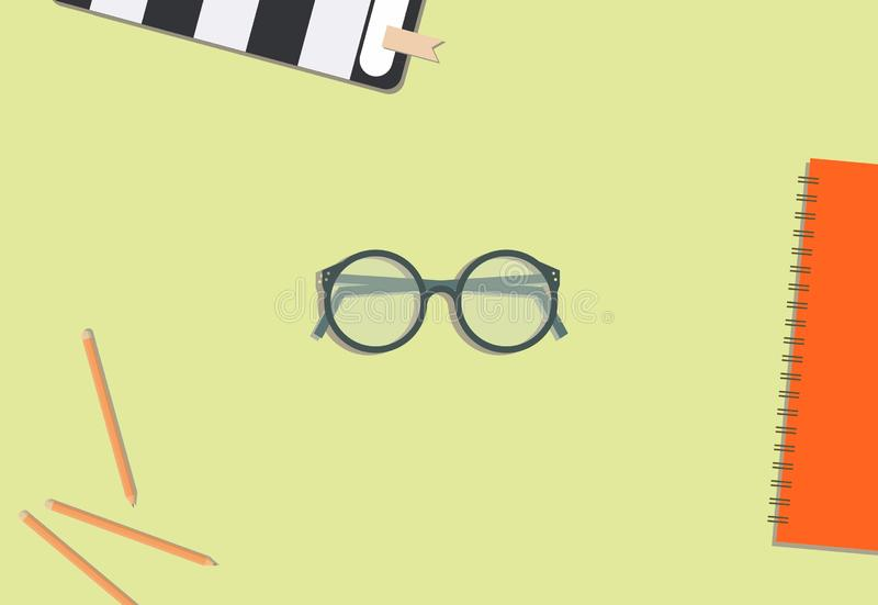 Eyeglass, pencil, and book flat lay. Design stock illustration