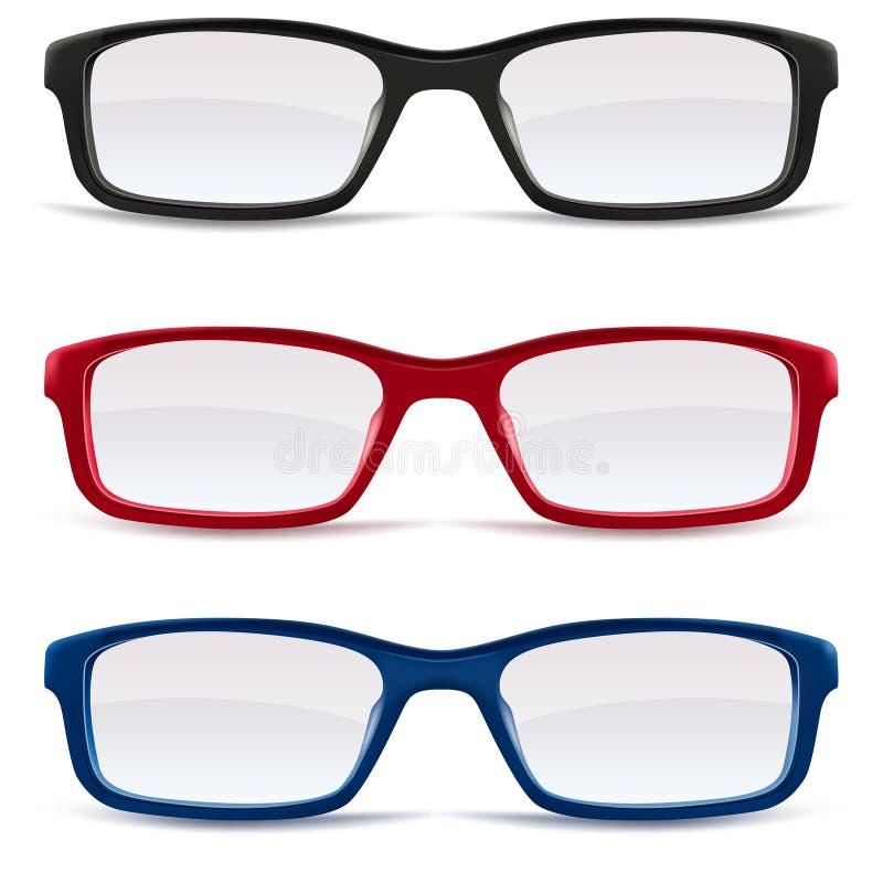 Eyeglasses â czerń, czerwień i błękit ilustracja wektor