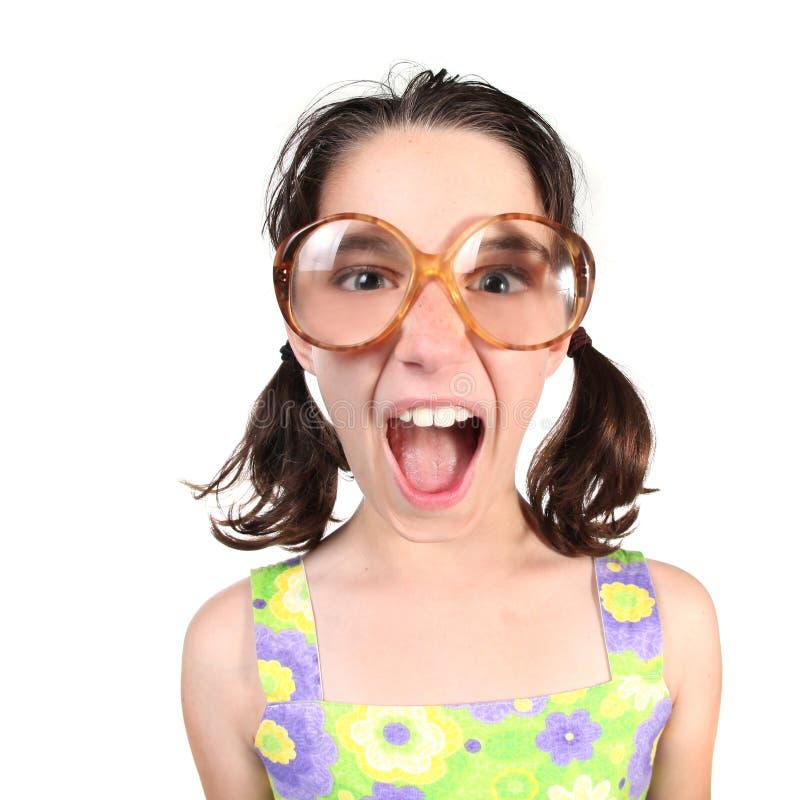 eyeglasses śmieszna dziewczyny ampuła target1932_0_ target1933_0_ fotografia stock