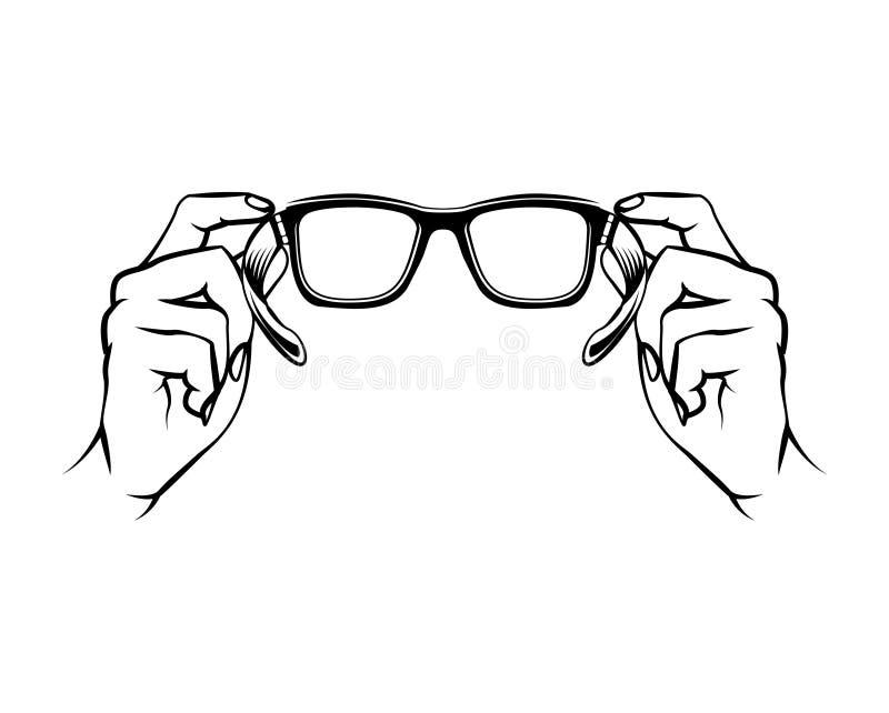 Eyeglasses εικονίδιο Λογότυπο οφθαλμολόγων γυαλιά εκμετάλλευσης χεριών διάνυσμα απεικόνιση αποθεμάτων