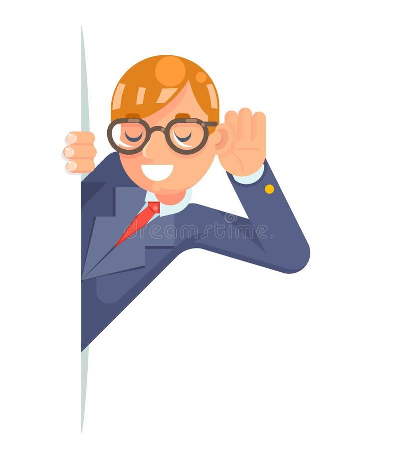Eyeglasses που κρυφακούνε το χέρι αυτιών ακούνε κρυφακούνε επίπεδο σχέδιο χαρακτήρα κατασκόπων wcartoon έξω το αρσενικό απομονωμέ διανυσματική απεικόνιση
