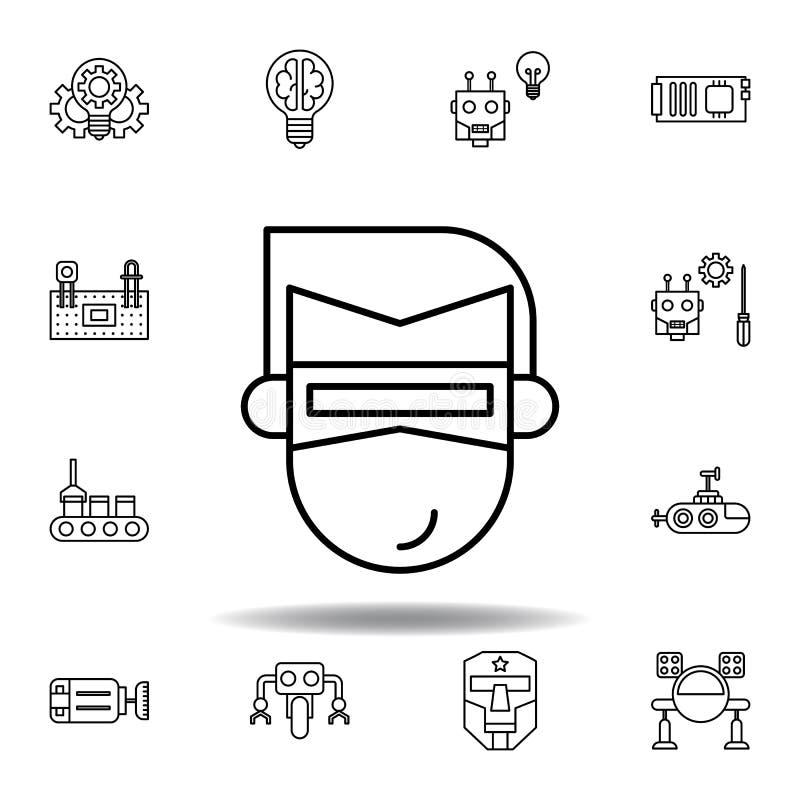Eyeglasses ρομποτικής εικονίδιο περιλήψεων σύνολο εικονιδίων απεικόνισης ρομποτικής τα σημάδια, σύμβολα μπορούν να χρησιμοποιηθού ελεύθερη απεικόνιση δικαιώματος