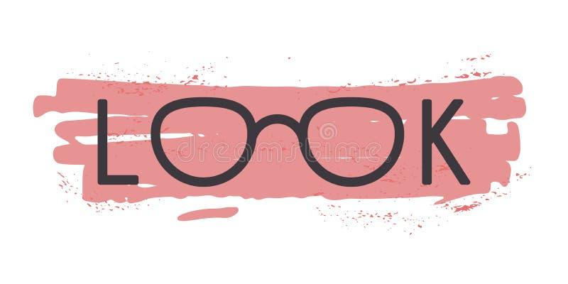 Eyeglasses στη λέξη βλέμματος ελεύθερη απεικόνιση δικαιώματος