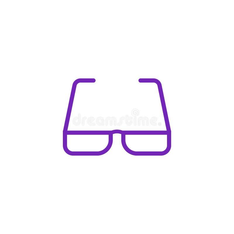 Eyeglasses при фиолетовый значок шатона в плоском стиле изолированный на белой предпосылке иллюстрация вектора