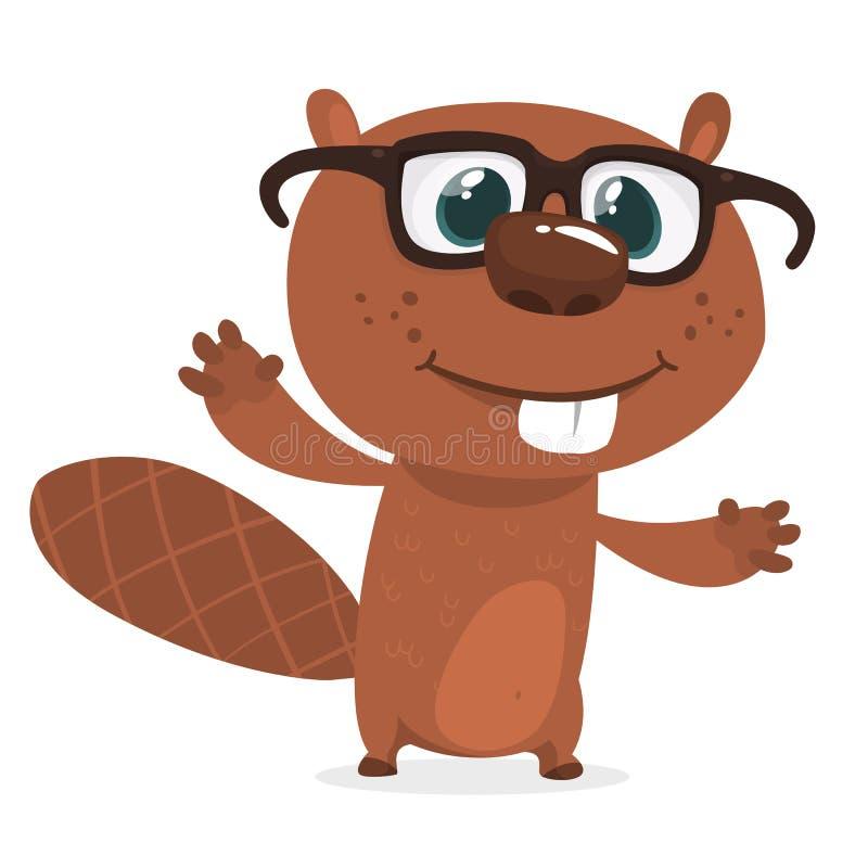 Eyeglasses счастливого бобра шаржа нося Характер бобра Брайна Изолированная иллюстрация вектора бесплатная иллюстрация