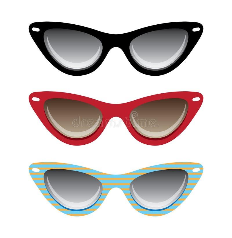 Eyeglasses черноты кота, красных и голубых vector illustra иллюстрация штока
