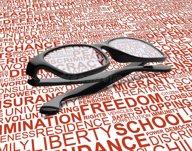 Eyeglasses with background concept wordcloud of human rights. A pair of black glasses with background concept wordcloud of human rights stock photography