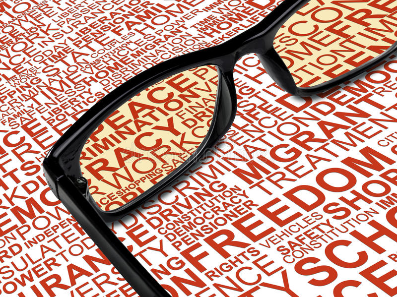 Eyeglasses with background concept wordcloud of human rights. A pair of black glasses with background concept wordcloud of human rights stock photos