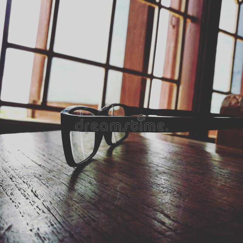 Eyeglasses With Black Frames stock photography