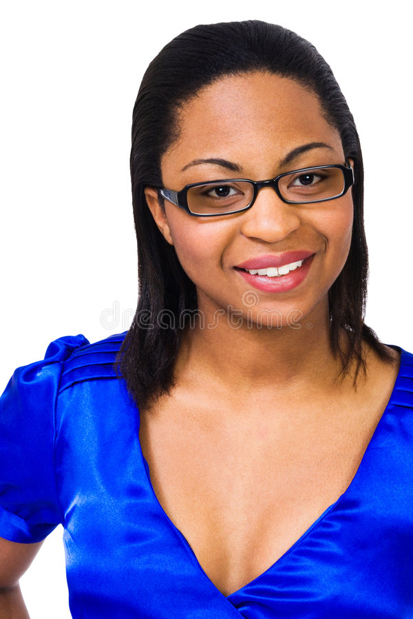 Eyeglasses desgastando de sorriso da mulher fotografia de stock