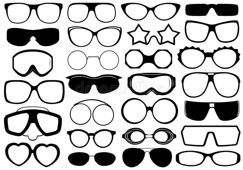 Eyeglasses diferentes isolados ilustração do vetor