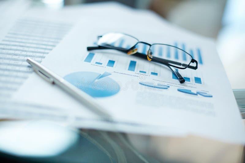 Eyeglasses and document stock image