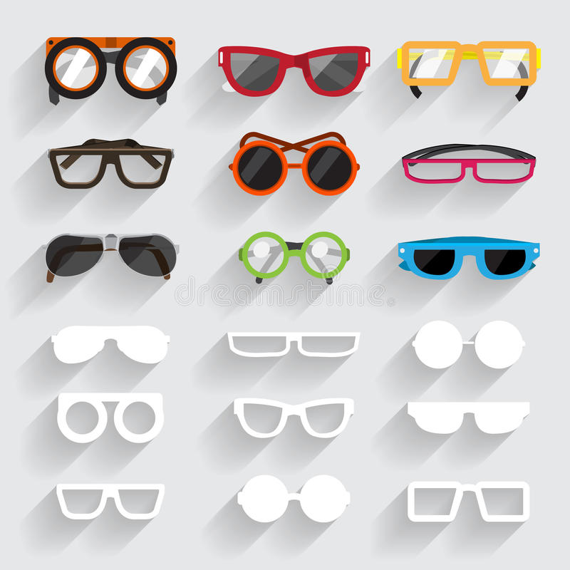 Eyeglasses. Eyeglass vecter set icons and white material ling sghadow stock illustration