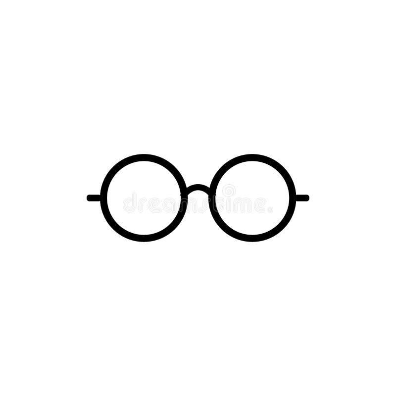 Eyeglasses ikona Szkło ikona Round szkieł ikony symbol Ustawiający - wektor ilustracji