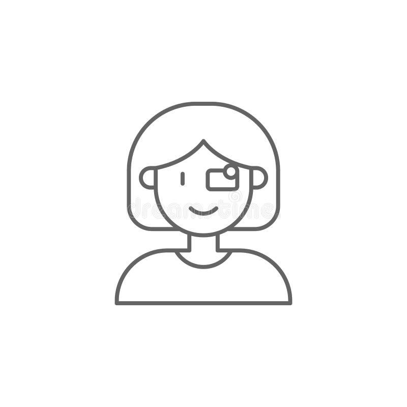 Eyeglasses, kobieta, ikona technologii Ikona elementu przyszłego świata Ikona cienkiej linii do projektowania i projektowania wit ilustracji