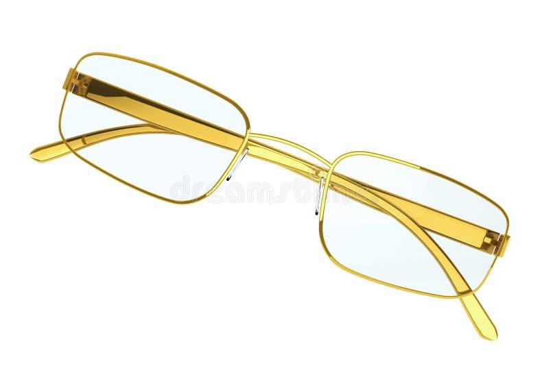 Eyeglasses modernos do ouro ilustração stock