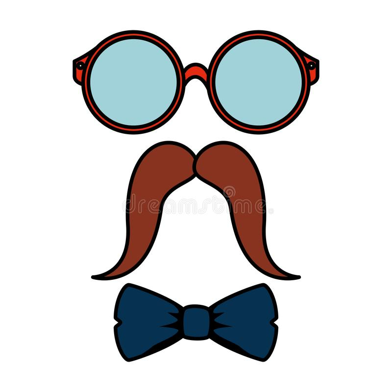 Eyeglasses and mustache with bowtie hipster style vector illustration