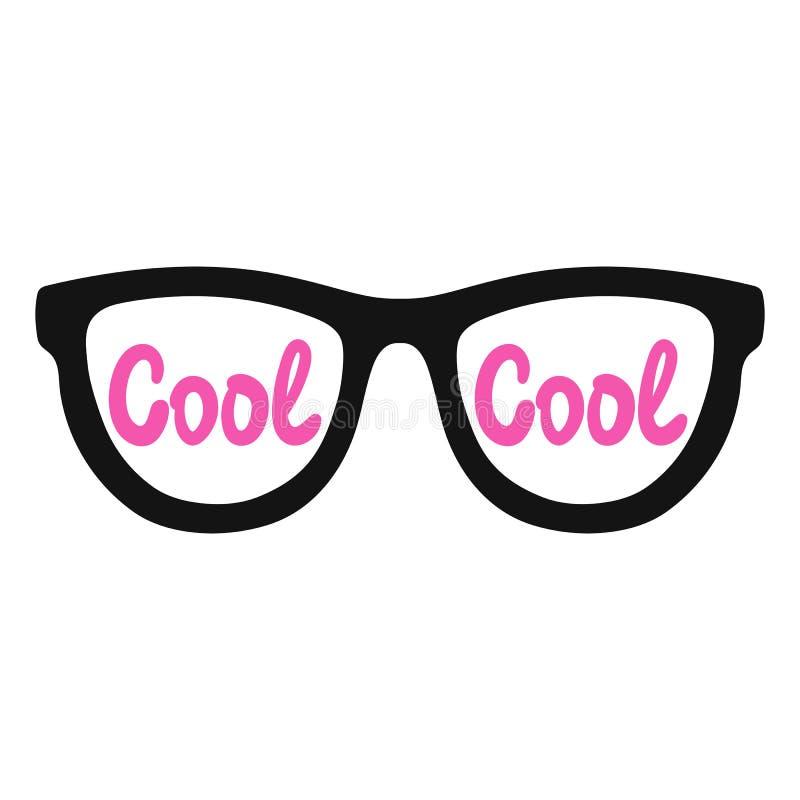 Eyeglasses na białym tle z wpisowy chłodno wektor zdjęcia stock