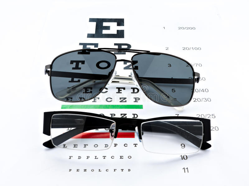 Eyeglasses and sunglasses vision chart at white background. Eyeglasses and sunglasses chart at white background stock images