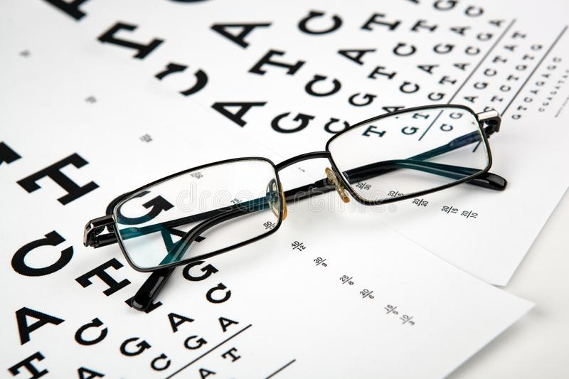 Eyeglasses on the table with a font to determine of eyesight English version. Eyeglasses on the table with a font to determine of eyesight English royalty free stock image