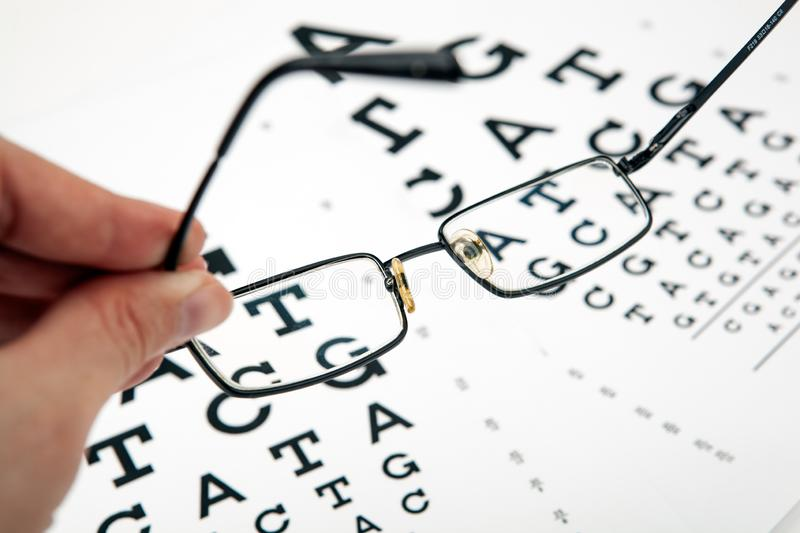 Eyeglasses on the table with a font to determine of eyesight English version. Eyeglasses on the table with a font to determine of eyesight English royalty free stock photo