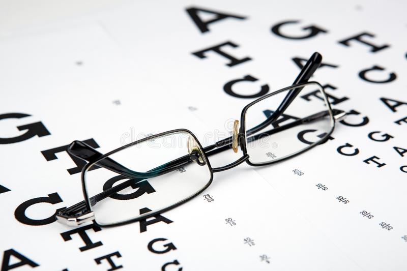 Eyeglasses on the table with a font to determine of eyesight English version. Eyeglasses on the table with a font to determine of eyesight English royalty free stock images